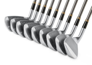 golf clubs in a row