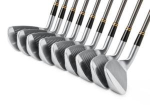 golf clubs in a row